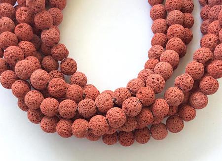 39 Perfect Round red brick unwaxed Volcanic Gemstone lava Beads