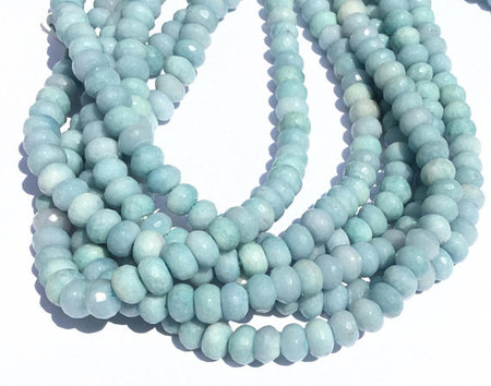 75 Aquamarine Faceted Rondelle Gemstone beads Stone