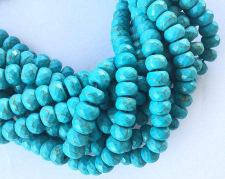 64 Med Hole Turquoise Faceted Rondelle Gemstone beads Stone