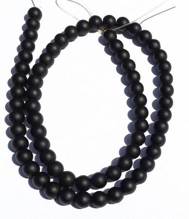 67 Natural Round matte black Onyx Gemstone beads