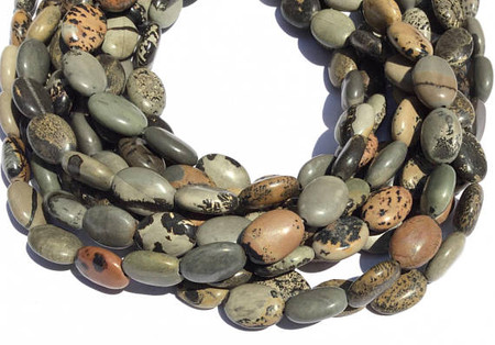 29 Natural Willow Creek Jasper Flat Oval Gemstone beads
