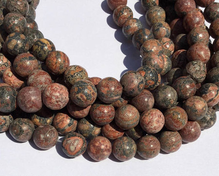 12mm Natural Leopard Skin Jasper round Gemstone beads