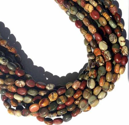 49 Natural Red Creek Jasper Flat Oval Gemstone beads