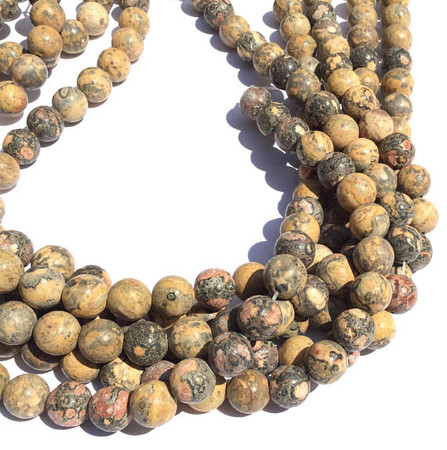 38 South African Leopard Skin Jasper round Gemstone beads