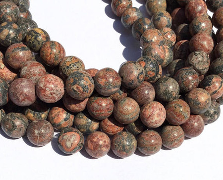 Natural Leopard Skin Jasper round Gemstone beads 10mm Stone