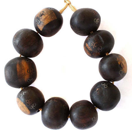 African hand carved Ebony wood Silver Copper Inlaid Beads