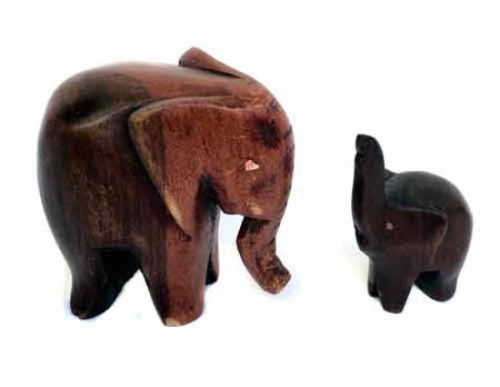 Mother and Child Elephant Ebony wood figures