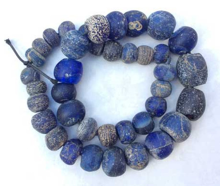 Antique European Old Dogon Cobalt Blue mixed Glass trade beads