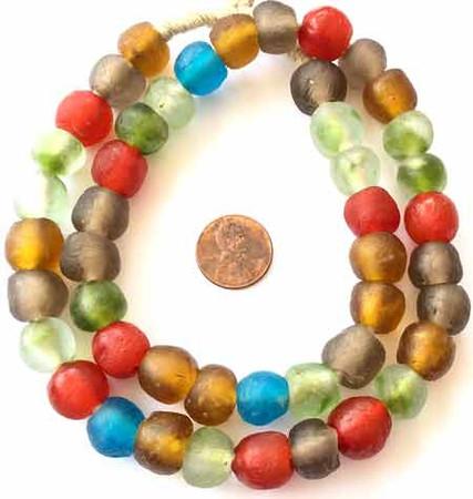 46 Round African recycled Krobo powderglass trade beads