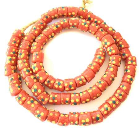Long Strand of Orange-Multi-Ghana-Krobo recycled glass beads