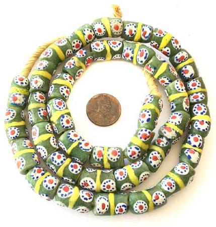 Handmade kelly green Multi-Ghana-Krobo-recycled Glass beads