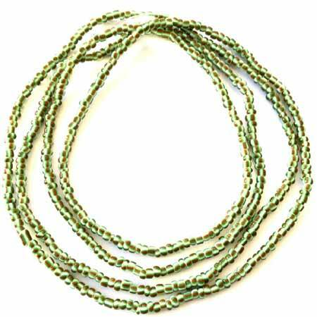 Ghana Green multi stripes tribal seed Beads Glass African Trade Beads