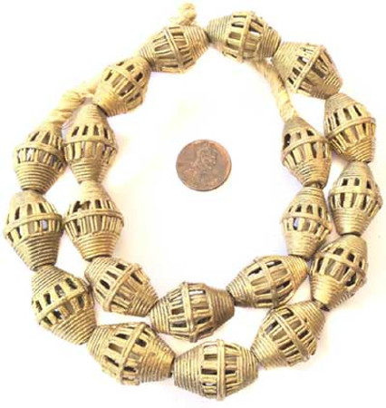 Ghana African lost Wax natural oval cage weave Brass trade Beads