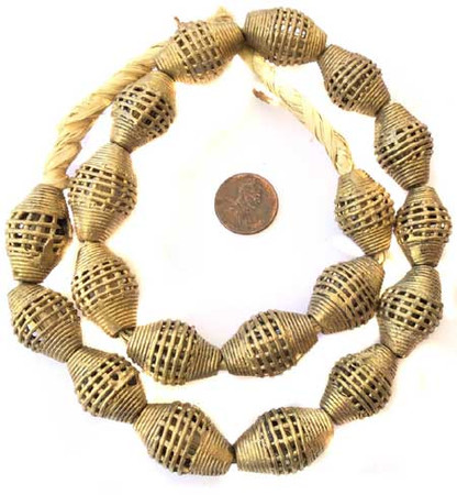 Ghana African lost Wax natural oval basket weave Brass trade Beads
