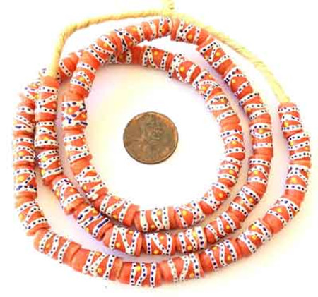 Handmade Orange Red Multi Swirl Ghana Krobo beads