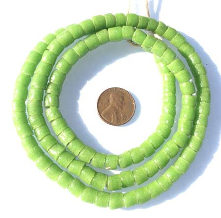 Apple Green Ghana Krobo recycled Glass Disk African trade bead