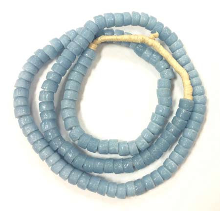 Ghana Light Blue Krobo Recycled Disk Glass African trade beads
