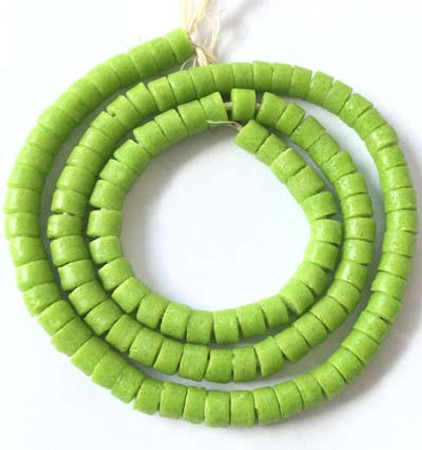 Ghana lime green Krobo Recycled Disk Glass African trade beads