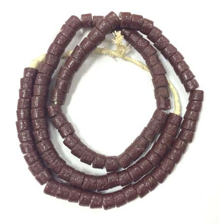 Chocolate brown Krobo powderglass Disk Glass trade beads