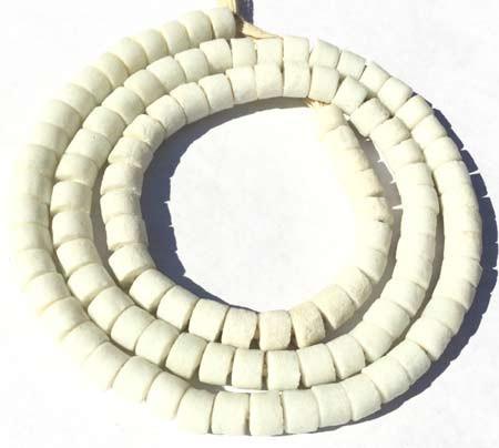 Handmade Chalk White Krobo recycled Glass Disk trade beads