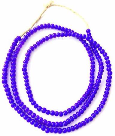 5mm Ghana African cobalt Blue White Heart glass African trade beads