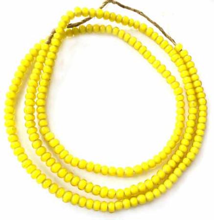 5mm yellow Ghana African White heart glass trade beads