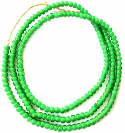 5mm green Ghana African White heart glass trade beads