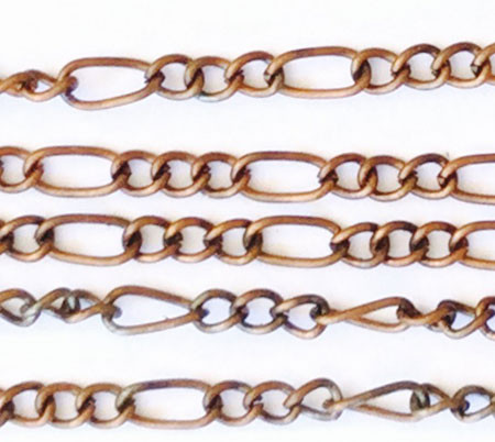 "36"" Antique Copper plated figaro Chain"