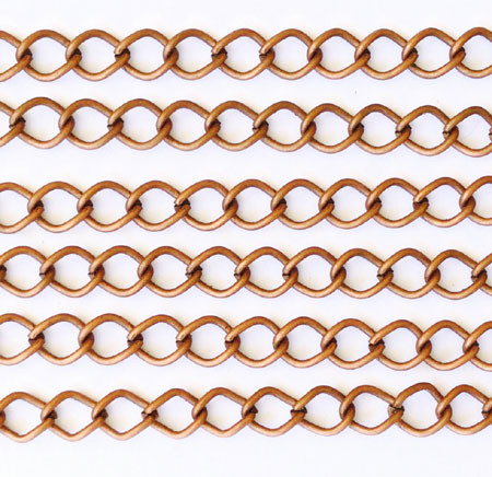 "36"" Antique Copper plated Curb Chain"