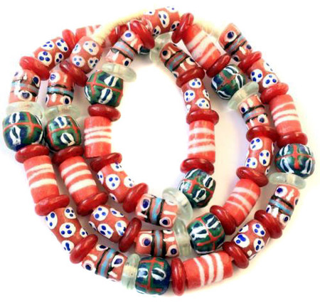 Variety Handmade Red Tone African recycled Glass Ghana African T