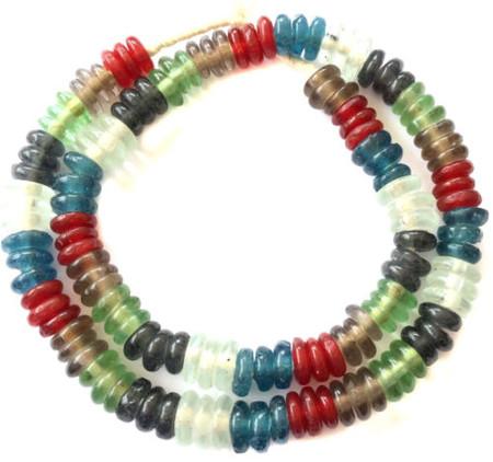 Mixed Transparent Ghana disk Krobo glass beads