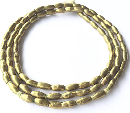 84 Ethiopian African Authentic Natural Rice Brass Oval beads