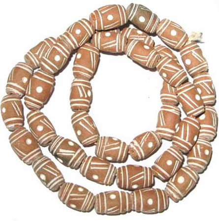 African Mali Clay Oval shaped Trade Beads