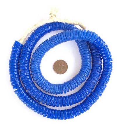 213 Blue African Krobo glass bead disk