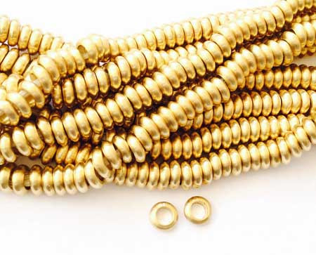 100 Bright authentic Brass Rondelle ethnic metal spacer beads