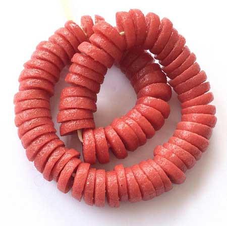 Red Disk Krobo Beads