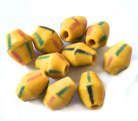 10Pcs Yellow Bicone Ghana recycled glass trade beads