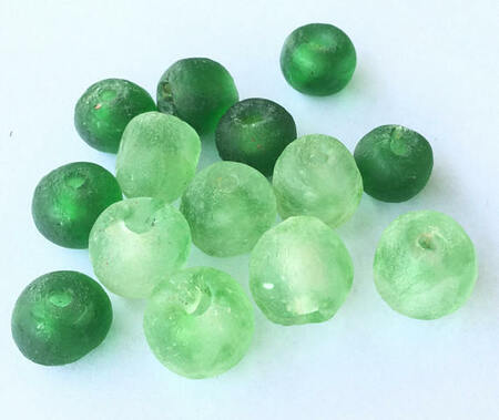 14 African Ghana Krobo recycled Emerald Green Glass trade Beads