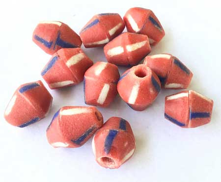 12 Handmade Red African Art Krobo recycled Glass Bicone Beads