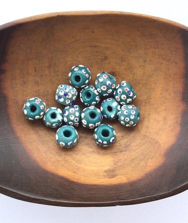 13 pcs aqua green African Ghana recycled glass handmade beads