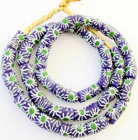 Krobo Ghana Matched Sun floral Recycled glass African trade bead