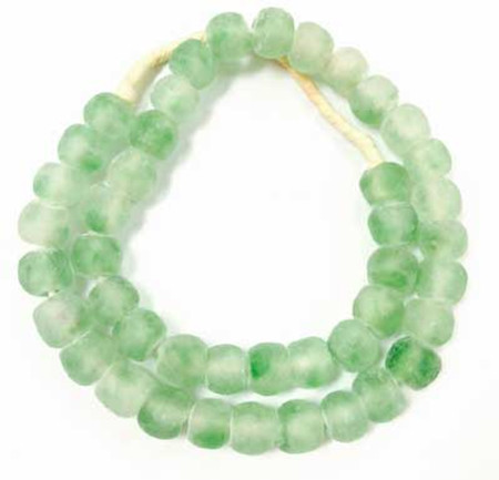 Minty green multi colored African Ghana Krobo recycled Glass trade beads