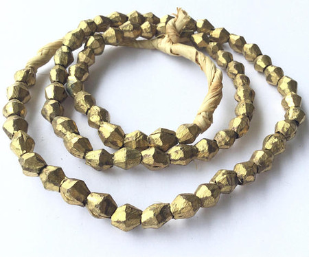 68 Mali African Authentic Natural Light Etched Brass Bicone bead