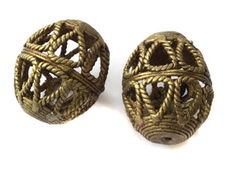 2 Africa tribe Egg shape weave style handmade brass Trade Beads