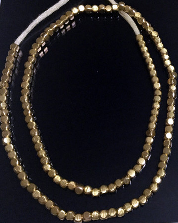 135 Fine Bright Brass authentic Brass faceted Square ethnic metal beads