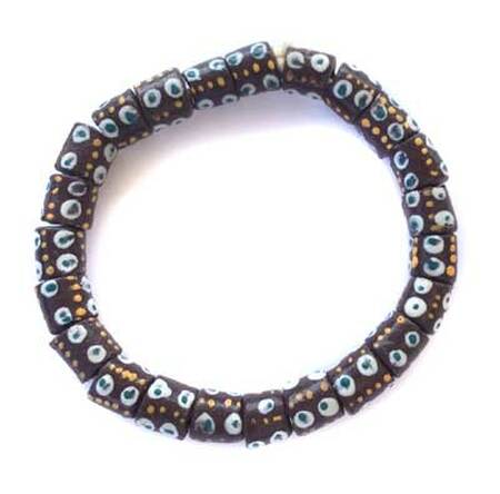 Cylinder brown with white eye design African Krobo Recycled Glass beads