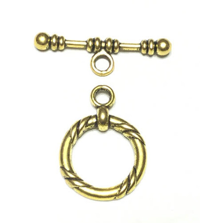 Antique Gold twisted round Toggle Clasp