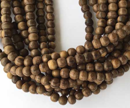 49 Natural hand carved brown Round Sese wood Beads