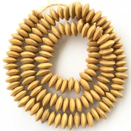 126 fine Natural Wood disk Beads Light Afzelia color