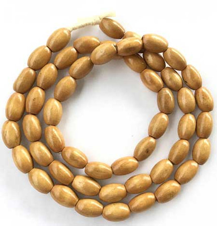 Natural Wood Oval Beads Natural Antique Iroko color